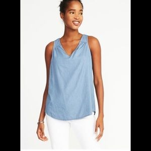 Womens Old Navy Blue Chambray Sleeveless Top Sz M